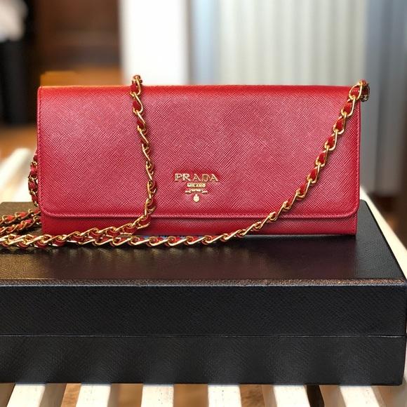 a5ccac98bcb0 Prada Bags | Like New Saffiano Wallet On Chain | Poshmark